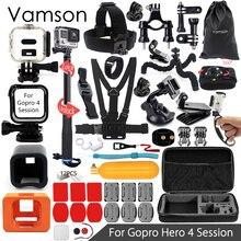 Vamson для gopro hero 4 session аксессуары супер комплект монопод грудь ремешок для go pro hero 4 сессии действий камеры vs14