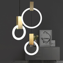 Moder staircase restaurant bar bedroom glass lamp living room personality circle Ring Pendant Lights lighting Fixture