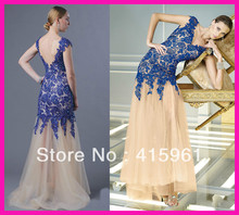 2014 New Arrival Blue Cap Sleeve Backless Mermaid Long Women Pageant Evening Prom Dress E4590