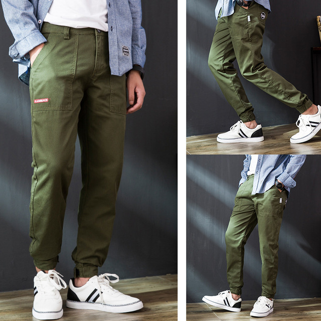 Odinokov Brand  Fashion High Street Male Loose Jeans ankle length  Pants Cool  Comfortable Cargo Trousers Camo Jogger