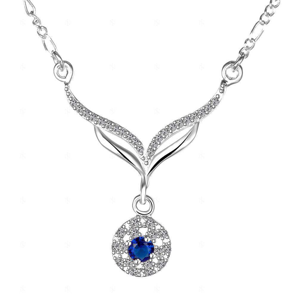 2015 new arrived 925 sterling silver jewelry  leafage link round blue stone crystal pendant necklace for women girls promotion Ожерелье