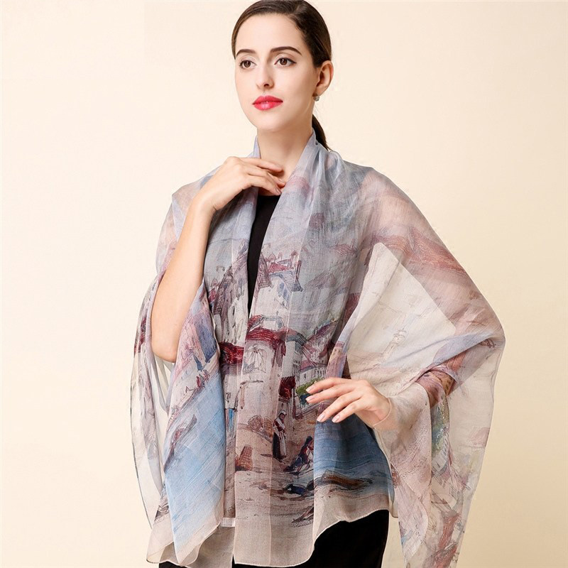 High quality 100% mulberry silk   scarf   natural real silk Women Long   scarves   Shawl Female hijab   wrap   Summer Beach Cover-ups P15
