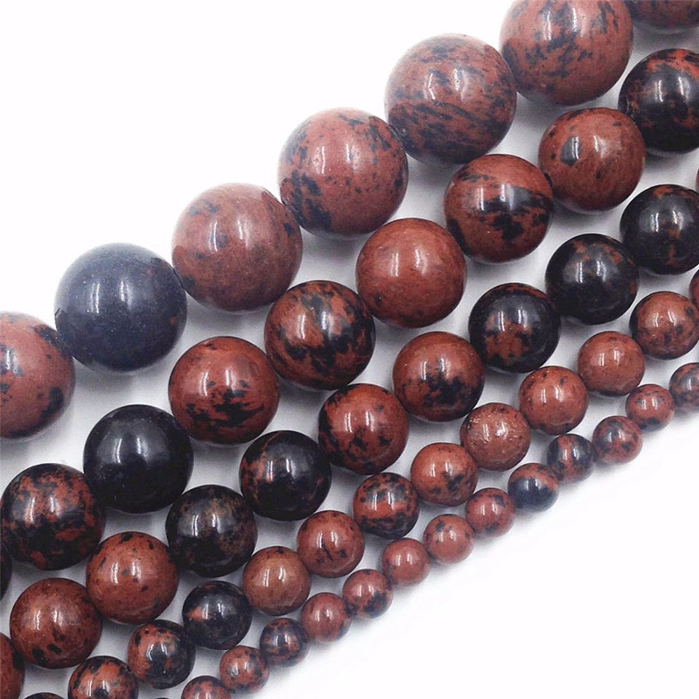 Semi-finished Round Brown Color Stone Beads 4/6/8/10/12mm For Bracelets Jewelry Making Accessories Perline Christmas Gifts