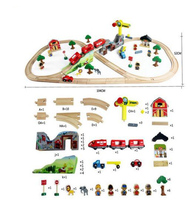 70pcs DIY wooden TRAIN toys educational block building toys railway big scene plane toys for children puzzle toy kid gift
