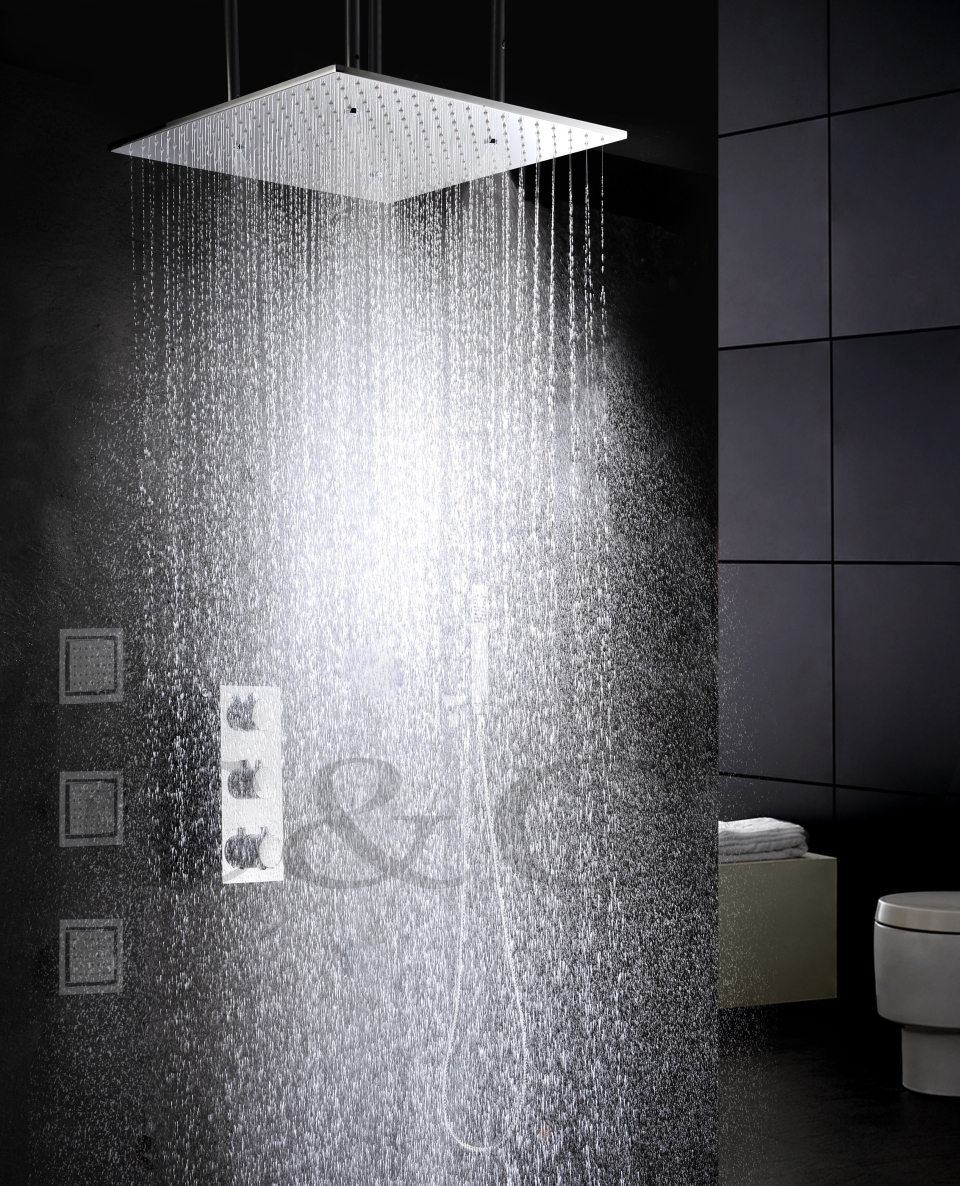Atomizing And Rainfall Thermostat Bath Shower Faucet Set 20 Inch Two Functions Shower Head And Massage Spray