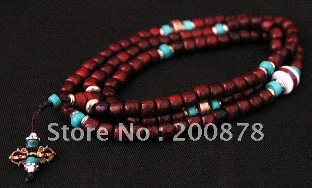 BRO957 Tibetan 108 little leaf red sanders prayer mala,6mm,Turquoise prayer beads rosary,Free ship