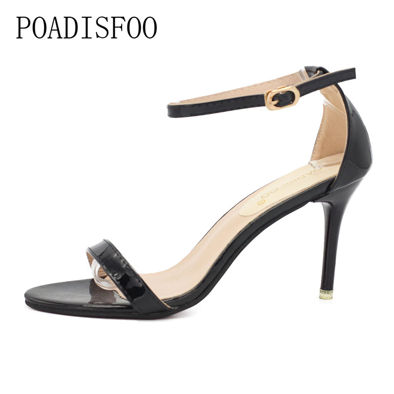 POADISFOO Summer new simple sandals female high-heeled fine with fish head word with buckle open-toed sandals.HYKL-A169 2016 summer new korean high heeled open toed waterproof thick with muffin platform sandals rome female shoes 14cm