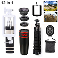 12in1 Mobile lens Kit 12X Telephoto Zoom Lenses Telescope Tripod Wide Angle Macro Fisheye Lentes For Xiaomi Huawei Meizu Lenovo