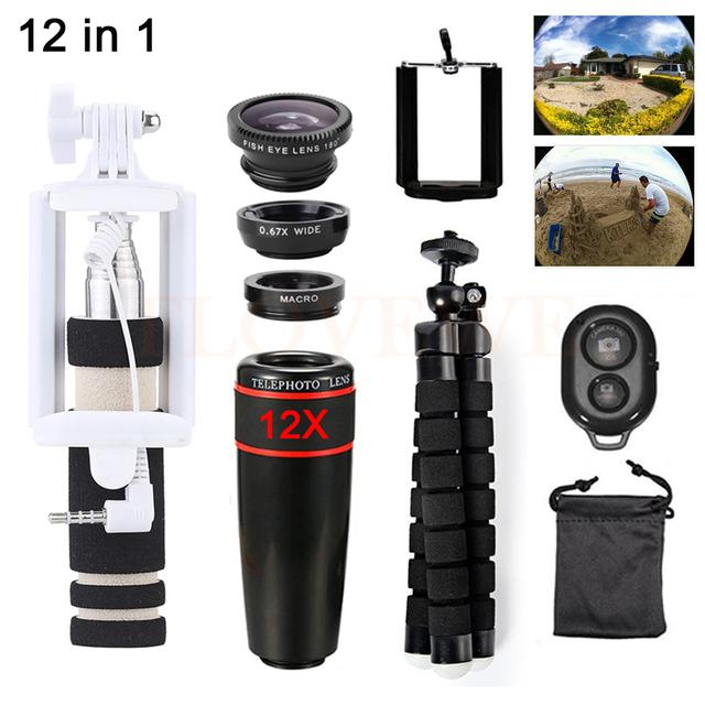 12in1 kit lente lentes zoom telefoto 12x móvel tripé telescópio grande angular macro fisheye lentes para xiaomi huawei meizu lenovo