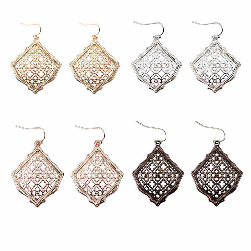 Cutout Hollow Filigree Morocco Drop Earrings for Women Cut Out Square Filigree Water Drop Earrings Mother Day Gift