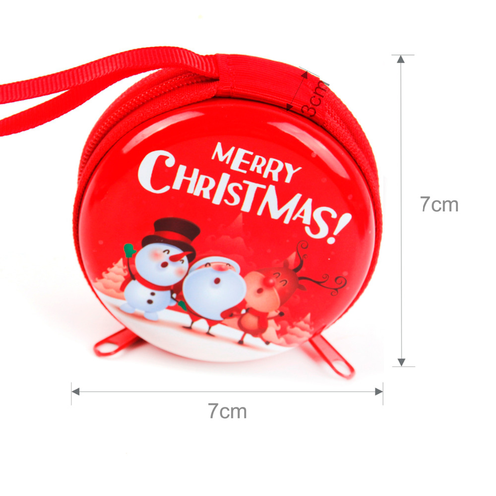 Christmas Tin Plate Coin Purse Headset Case size