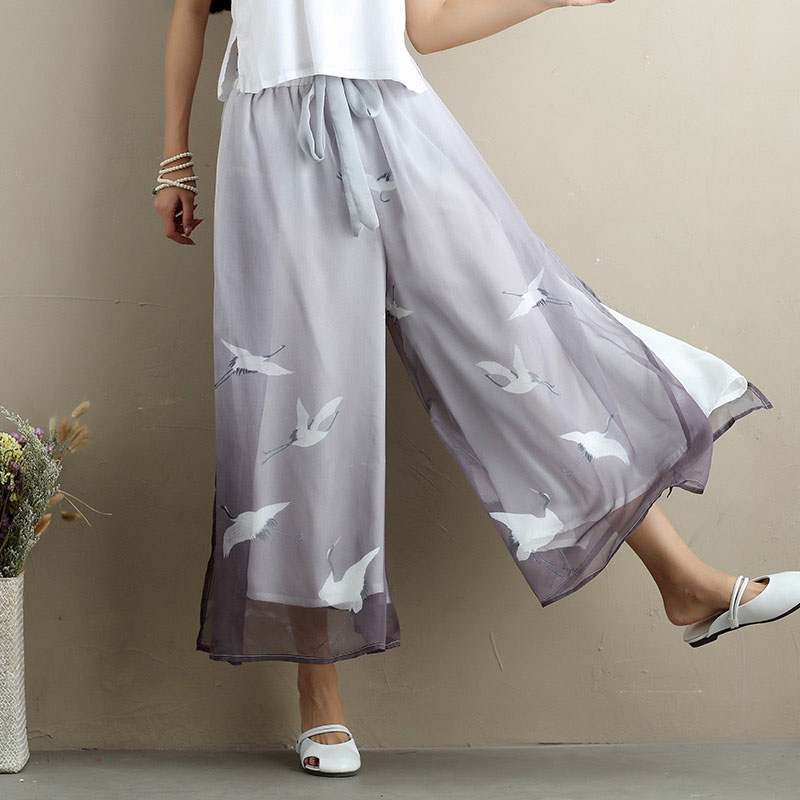 National Wind Women Casual Pants Thin Chiffon Print Ankle Length Wide Leg Pants Vintage Plus Size Gradient Color Pants LJ2310
