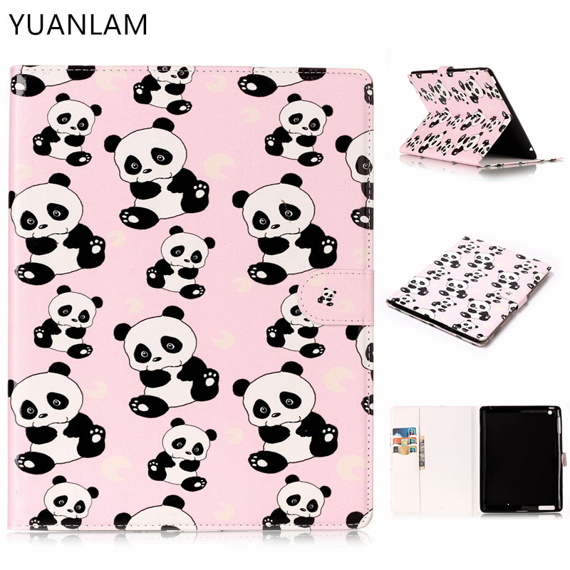 3D Panda pattern Flip Case for Apple iPad air1 2 with iPad mini 2 3 4 5 iPad 2 3 4 pro stand Cover Case Free Shipping alabasta cover case for apple ipad air1