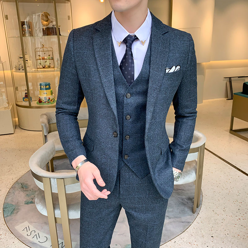 Slim Design Men's Plaid 3 Piece Set ( Jacket + Pant + Vest ) Wedding Party Mens Suits Blazer Asia Size S-5XL