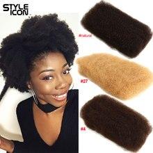 Афро кудрявые объемные человеческие волосы 4 пряди Remy монгольские афро кудрявые объемные 50 г/шт. кудрявые вьющиеся волосы крючком для плетения Styleicon
