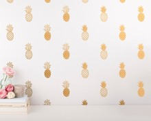 Modern Vinyl Pineapple Wall Decal Unique Gold For Kids Nursery Room Cute Sticker Mural W-748