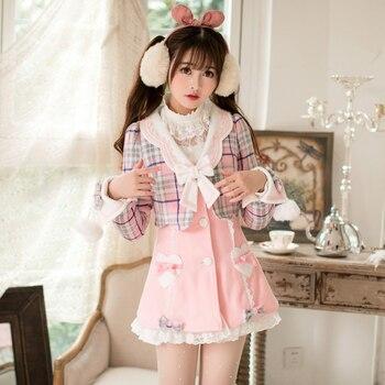 Princess sweet lolita coat Candy rain in autumn and winter wool coat long Japanese sweet slim false two coat C22CD7244