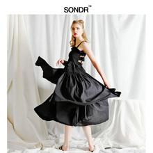 SONDR 2019 Spring Summer Fashion New Solid Color Casual Women White Sling Backless Pleated Shrink Waist Slim Vintage Dress