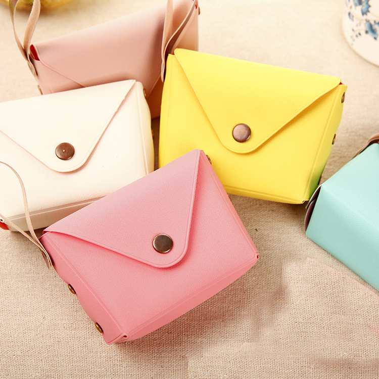 New Candy Colour Pu Leather Purse Coin Bag Money Bag Mini Women Small Key Change Wallet Bags Case  Children Kids Gifts