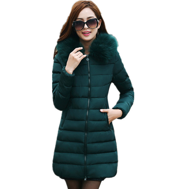 Thick parkas,fur collar hooded coat solid color slim cotton padded jacket,winter parka feminina,warm overcoat female TT1388