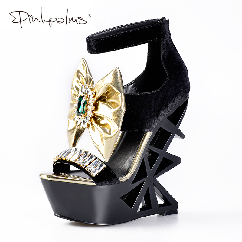 Pink Palms Summer Shoes Women Fretwork Wedges Shoes Strange High Heels Platform Sandals with Diamond and Butterfly knot Sandals trendy women s sandals with platform and velcro design