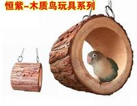 2016 Creative squirrel toy wooden material parrot bird nest tree hole swing lifting chain nest free shipping