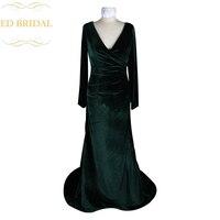 Custom Made V צוואר שמלת הערב ארוך המפלגה שמלת קטיפה ירוקה כהה פורמליות נשים robe de soiree