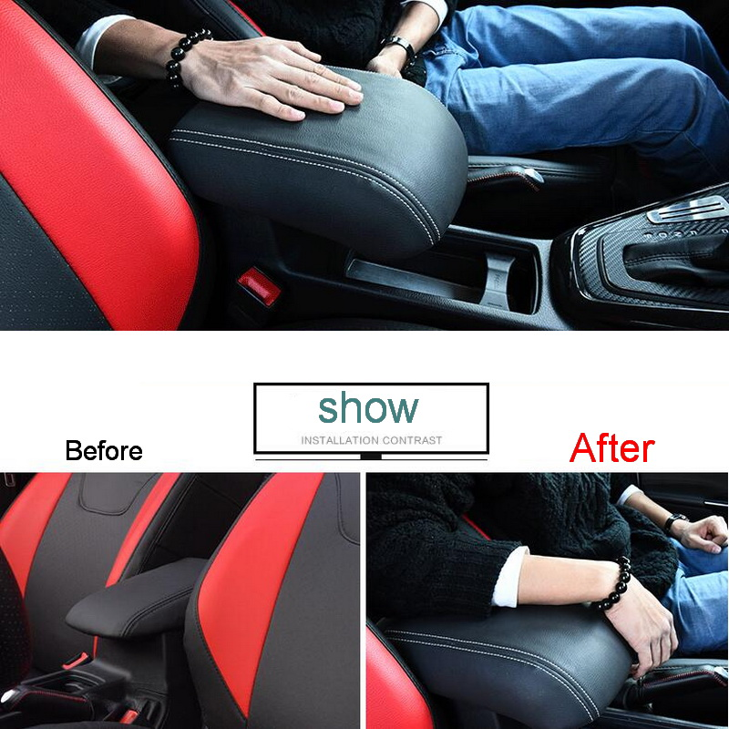 ФОТО 1 PCS DIY Car styling PU Leather Heighten Memory cotton central armrest box cover case stickers for Ford Focus 2015 accessorie