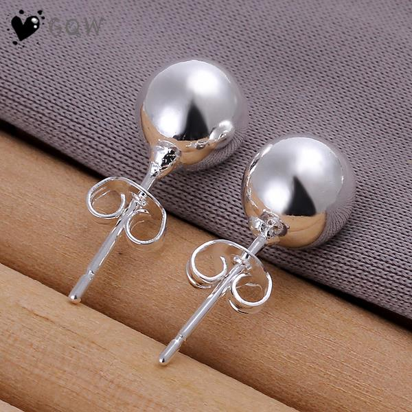 Us 1 55 Whole Lucky Ball Stud Earring 18k White Gold Plated School Season Gift For Students In Earrings From Jewelry Accessories