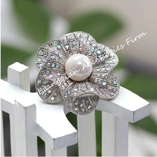 Красивый прозрачный с горным хрусталем белый искусственный жемчуг центр цветок Свадебная букетная брошь - Окраска металла: Silver AB Crystal
