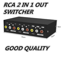 1pcs 2 Way Splitter AV RCA Audio Video Switch Selector Box W 3 RCA Cable For