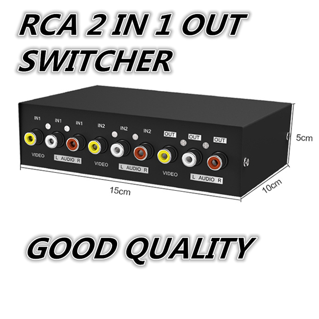 1pcs 2 Way Splitter AV RCA Audio Video Switch Selector Box w3 RCA