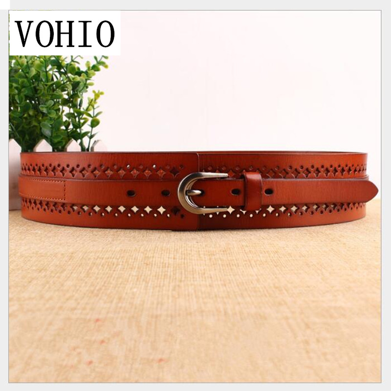VOHIO 100% cowhide cinto Ms belt Dress cowhide leather belt Women's real leather wide casual hollowed-out black Korean version