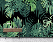 Beibehang Custom wallpaper European retro hand-painted tropical rainforest banana leaves living room wall 3d behang