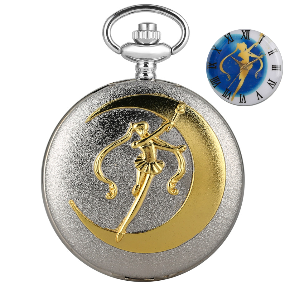 Japanese Anime Sailor Moon Theme Quartz Pocket Watch Silver Pendant Necklace Chain Gifts For Kids Girls Lady Dropshipping