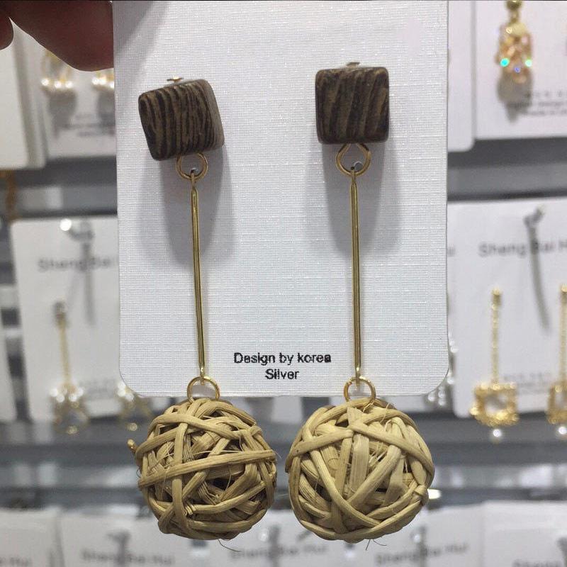 19 New Korea Handmade Wooden Straw Woven Rattan Vine Braid Geometric Large Circle Square Long Drop Earrings For Women Girl 13