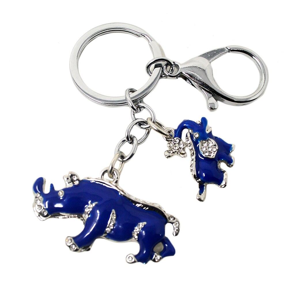 Neue Ankunft Legierung Strass Keychain Blue Elephant Rhinoceros Schutz Schlüssel Ketten W1041