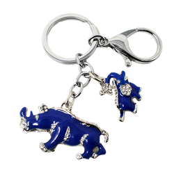 New Arrival Alloy Rhinestone Keychain Blue  Elephant Rhinoceros Protection Key Chains W1041