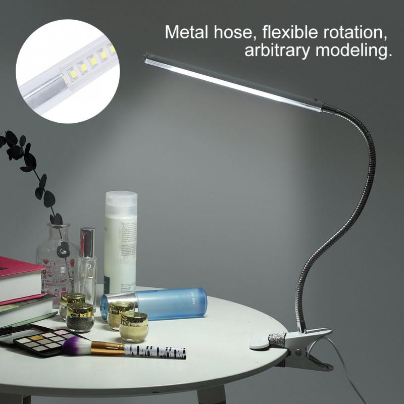 Flexible Nail Art Tools Reading LED Desk Lamp Metal Hose Lamp with Clip USB Interface Table Lamp for Tattoo Body Makeup