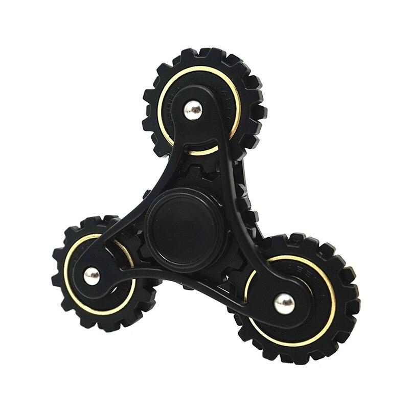 BLACK Fidget Tri-Spinner Fingertip gyroscope Toy Plastic Spiner Hand ball ADHD