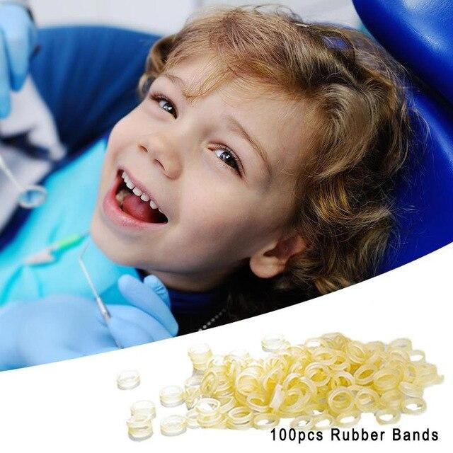 100 unids/bolsa bandas de goma de ortodoncia Dental transparentes herramientas de cuidado Dental bandas de goma Ortodoncia de látex 4 tamaños