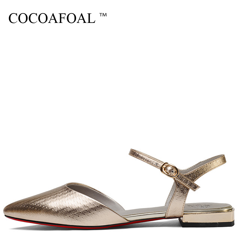 COCOAFOAL Women Silver Gold Genuine Leather Sandals Big Size 33 43 Sexy Party Prom Shoes Buckle Strap Silver Gold Wedding Sandal bronze silver gold buckles shoes slippers sandals shoes strap laces clothing bag 8mm belts buckle clip 500pcs lot free shipping