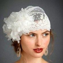 Красивая свадебная вуаль шляпа Тюль Кружева ручной работы вуаль с цветочным принтом шляпы для невесты