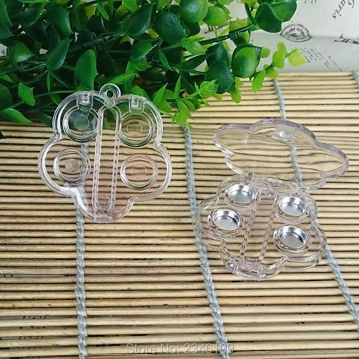 100pcs/lot Flower Shape Clear Cosmetic Powder Case, Empty