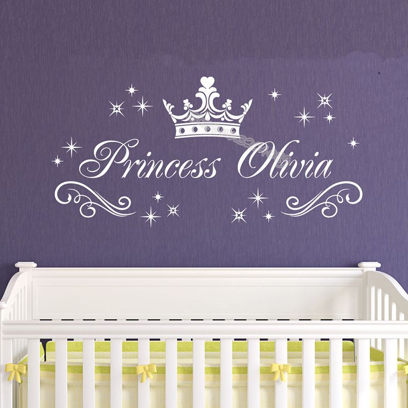 Pretty Princess Crown Wall Sticker Many Little Stars Decoration Girl Custom Name Personalized Decals Home Decor Kids Room EA925