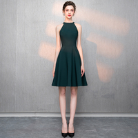 Women Cocktail Party Dress 2019 New Green Elegant A Line Mini Black Lady Cocktail Dresses Short Dresses LYFY02
