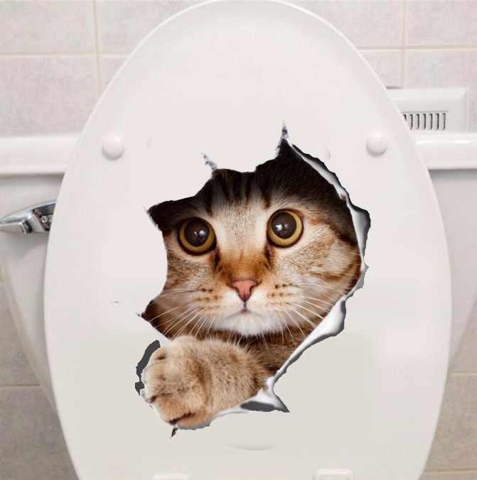 猫ビビッド3d強打スイッチウォールステッカー用浴室トイレkicthen装飾デカールおかしい動物の装飾ポスターpvc壁画アート