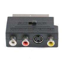 Adaptador de vídeo ou gravador de dvd, adaptador de televisão rgb scart para composto 3rca s video av tv