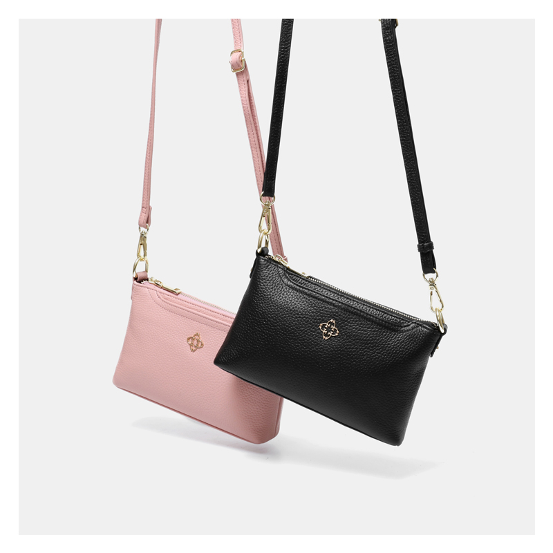 AOEO Shoulder Handbags Women Genuine Leather Luxury Messenger Bags Female Double Wristlet Cowhide Woman Red Korean small Bag