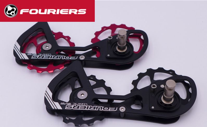 FOURIERS DX007 Alloy OSPW System For <font><b>SHIMANO</b></font> <font><b>105</b></font> 5800 Red Black Oversized Pulley Wheel Ceramic Bearing image